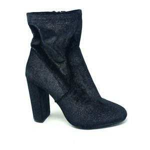 Call It Spring Womens Black Shimmer Sock Boot Heel